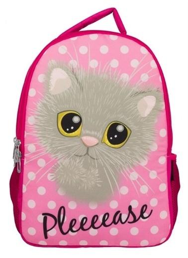 Ümit Çanta Cennec Sevimli Kedi Baskılı Kız Çocuk Sırt Çantası (İki Bölmeli) Renkli